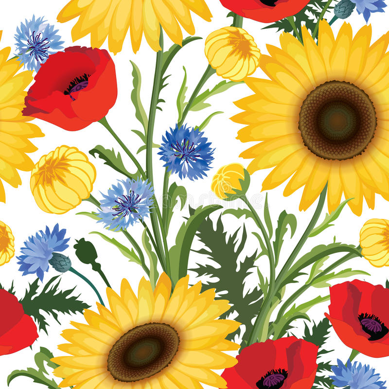 Floral seamless pattern. Flower poppy, sunflower, cornflower weadow background. Floral tile ornamental texture with flowers. vector illustration