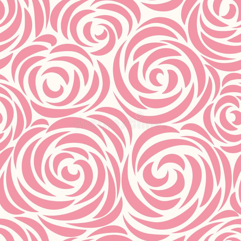 Floral seamless pattern with flower rose. Abstract swirl line background vector illustration