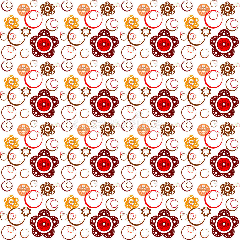 Floral seamless pattern. With flowers and circles vector illustration