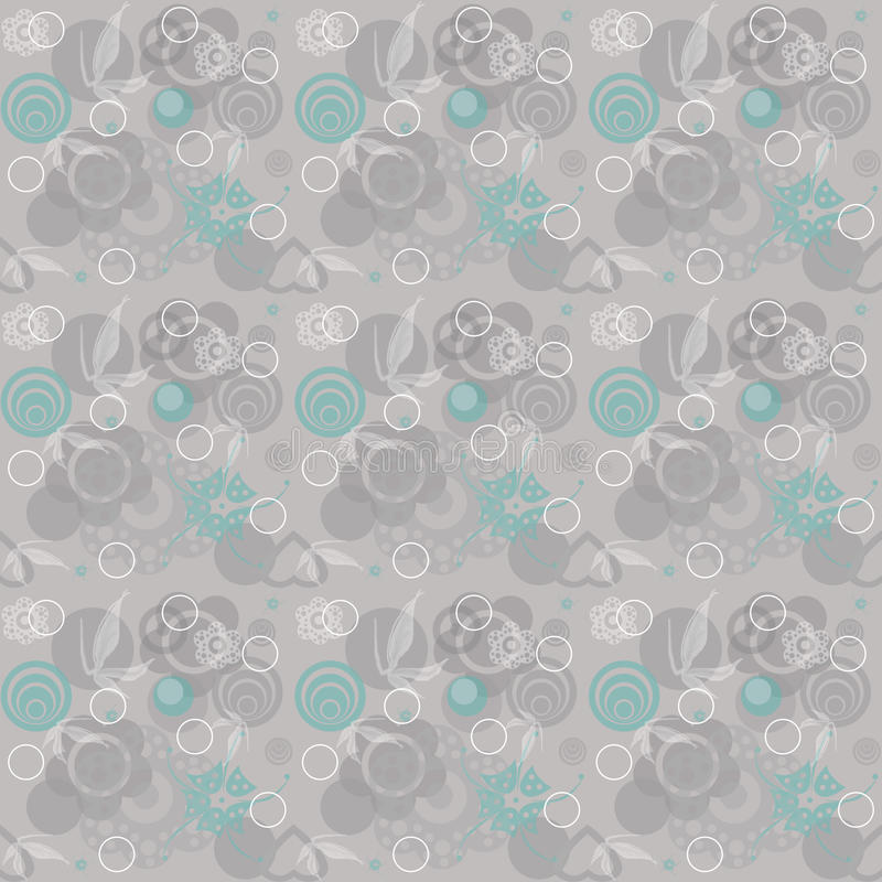 Floral seamless pattern. With flowers and circles royalty free illustration