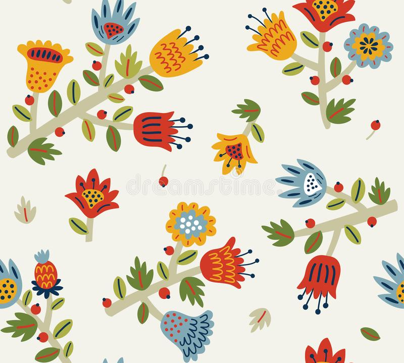 Colorful background, floral, seamless pattern with flowers and leaves royalty free illustration