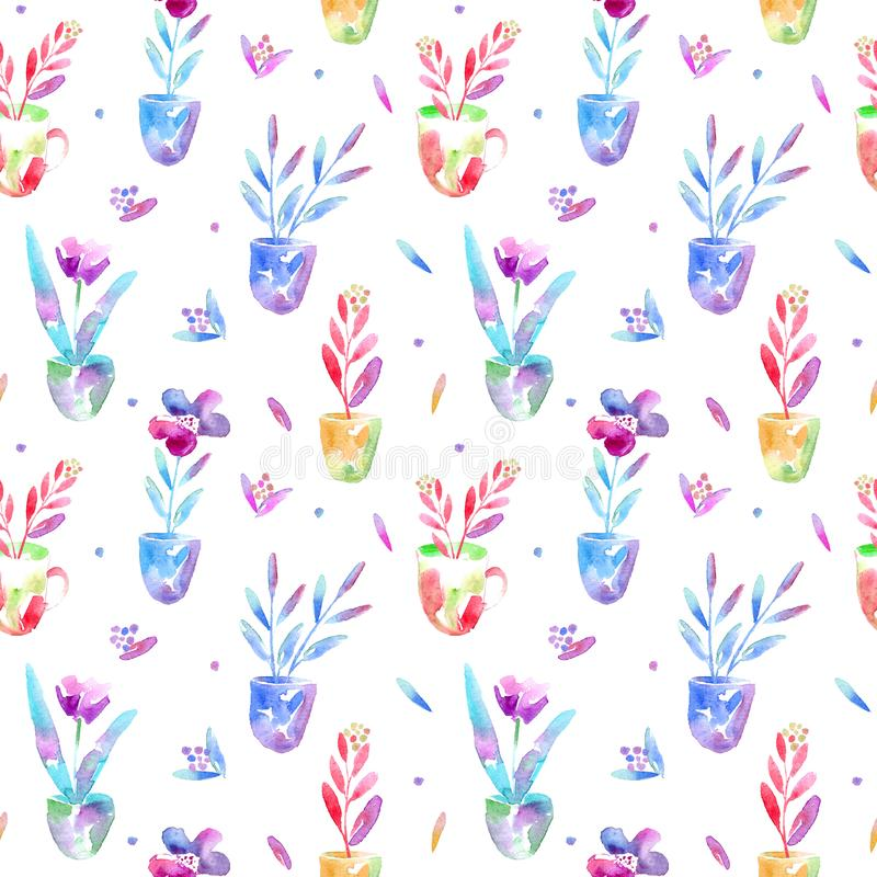 Floral seamless pattern of a flowers in pot and berry. royalty free stock images