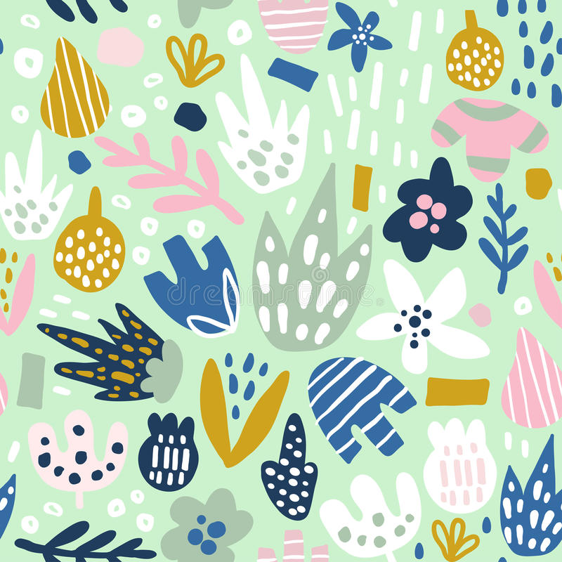 Floral seamless pattern with funky flowers. Creative surface design background.  stock illustration