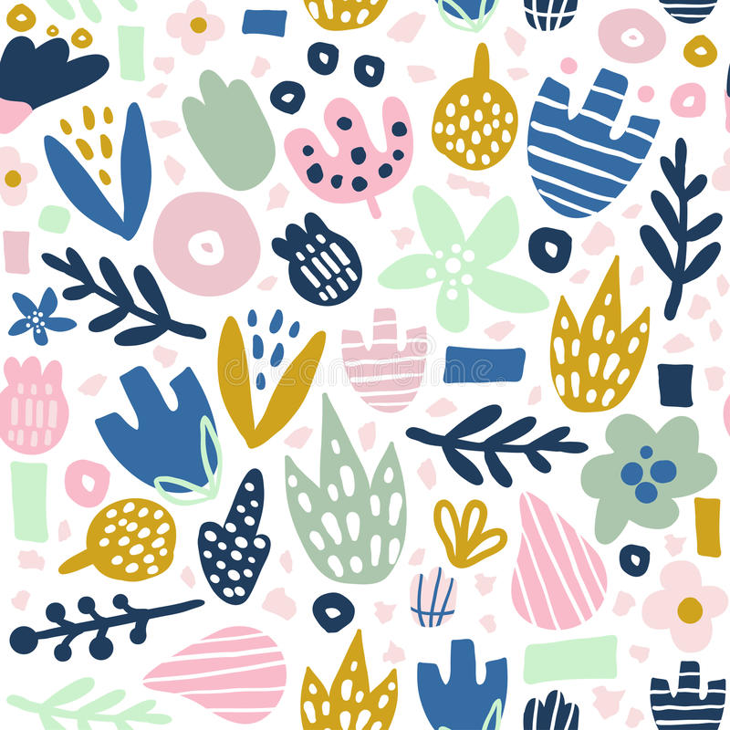 Floral seamless pattern with funky flowers. Creative surface design background.  vector illustration