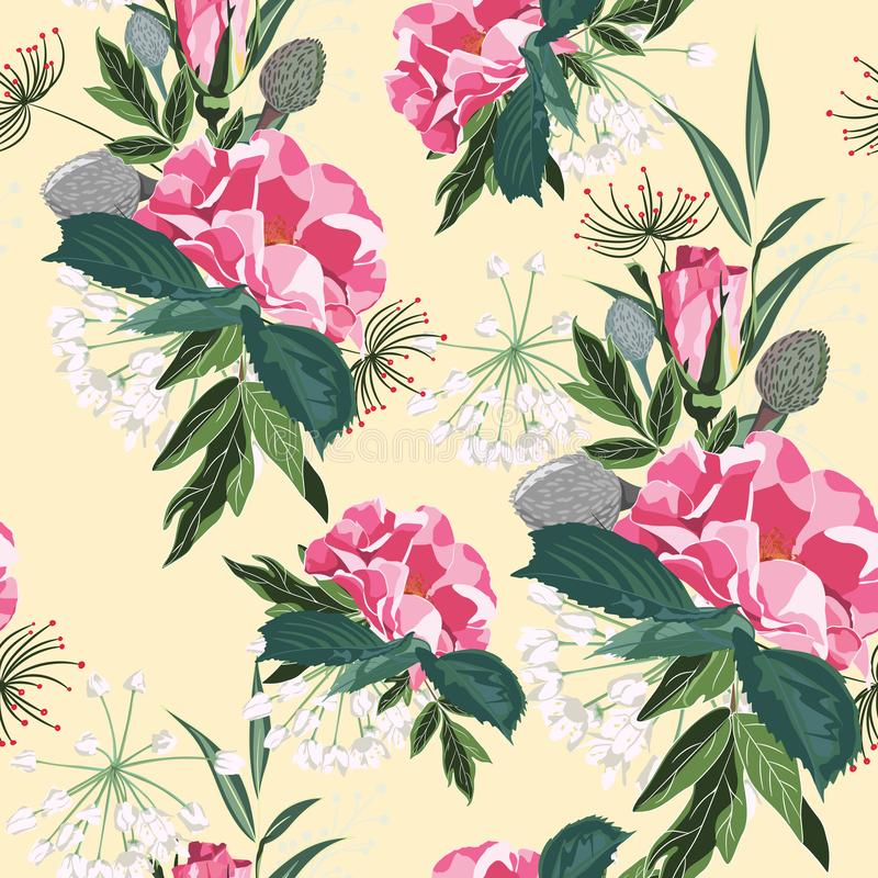 Floral seamless pattern with garden roses in vintage style. Yellow background. A bouquet of spring flowers for fashion prints. Modern floral background vector illustration