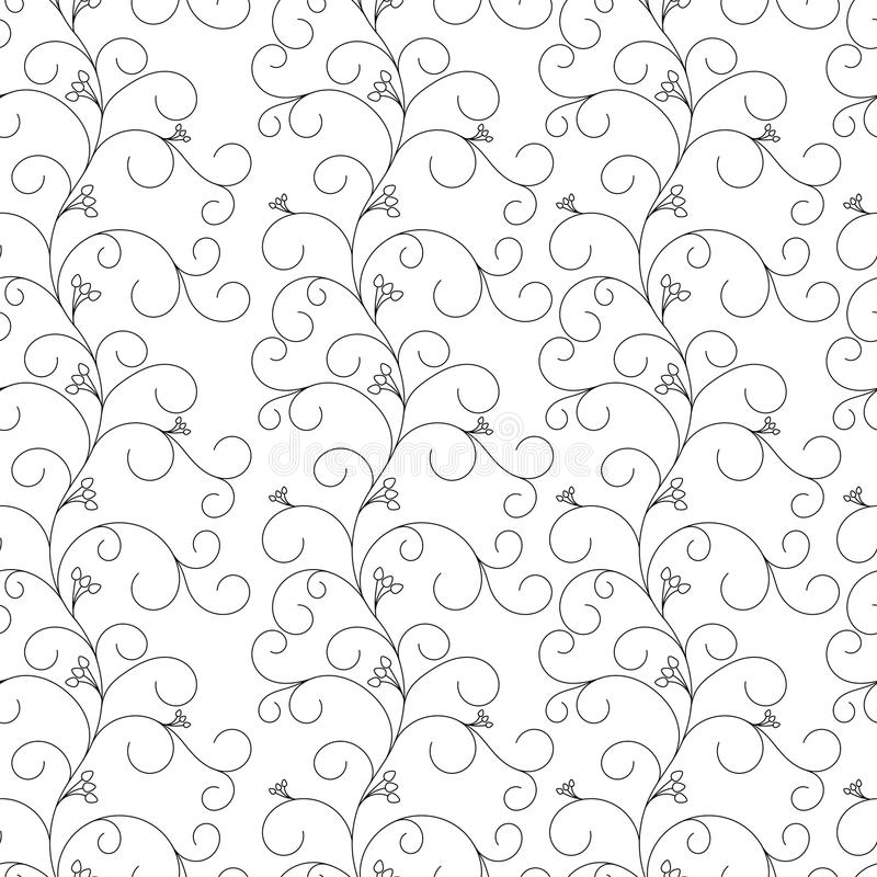 Floral seamless pattern, gray vines on a white background stock illustration