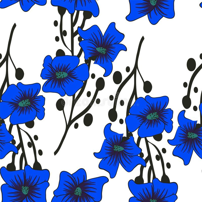 Floral seamless pattern. Hand drawn abstract gradient flowers with doodle decoration. Colorful artistic design. It can be used for stock illustration