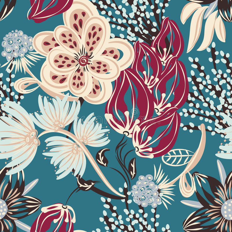 Floral seamless pattern. Hand drawn creative flower. Colorful artistic background with blossom. Abstract herb. It can be used for wallpaper, textiles, wrapping stock illustration