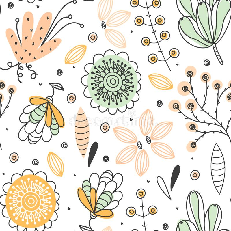 Floral seamless pattern. Hand drawn creative flowers. Colorful artistic background with blossom. Abstract herb. It can be used for wallpaper, textiles royalty free illustration