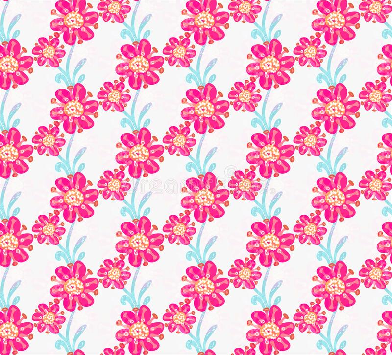 Floral seamless pattern. Hand drawn creative flowers. Colorful artistic background with blossom. Abstract herb. It can be used for wallpaper, textiles stock illustration