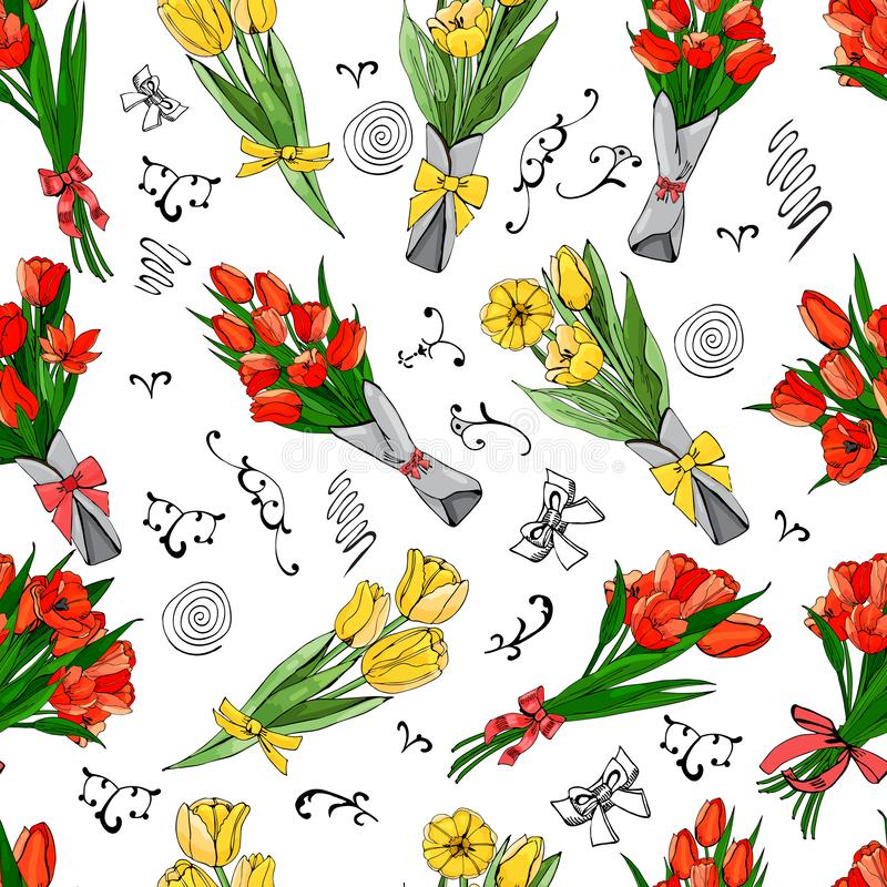 Floral seamless pattern of hand drawn graphic and colored sketch red and yelow tulip flowers and leaves isolated on white back vector illustration