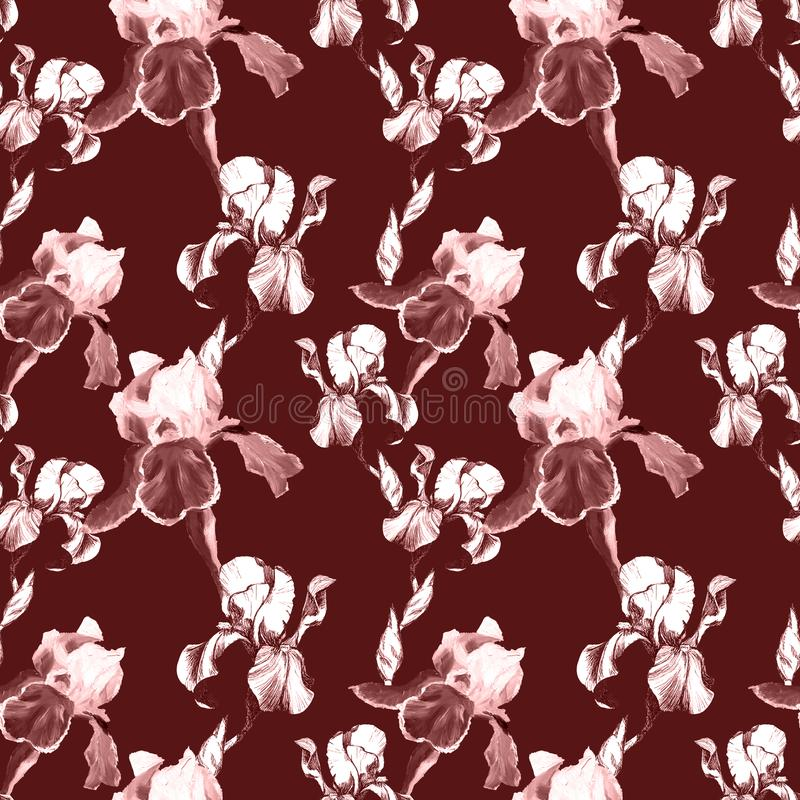 Floral seamless pattern with hand drawn ink iris flowers on burgundy background. Flowers lined up in harmonious. Uninhibited sequence vector illustration