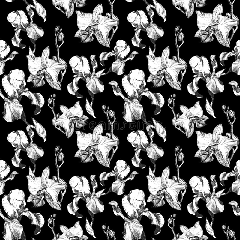 Floral seamless pattern with hand drawn ink iris and orchid flowers on black background. Flowers lined up in harmonious. Uninhibited sequence vector illustration