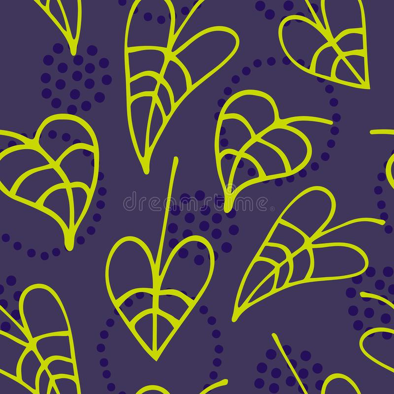 Floral seamless pattern with hand drawn leaves on dark background. Vector illustration for design amd art, printed, wrapping paper, textile or fabric and etc stock illustration