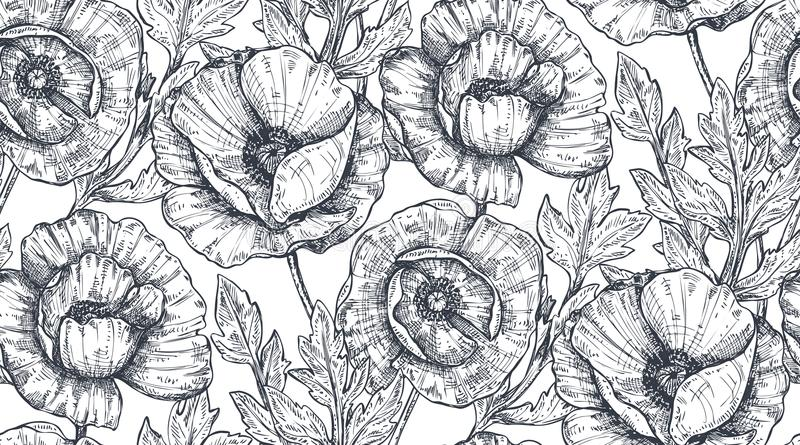 Floral seamless pattern with hand drawn poppy flowers and leaves. stock illustration