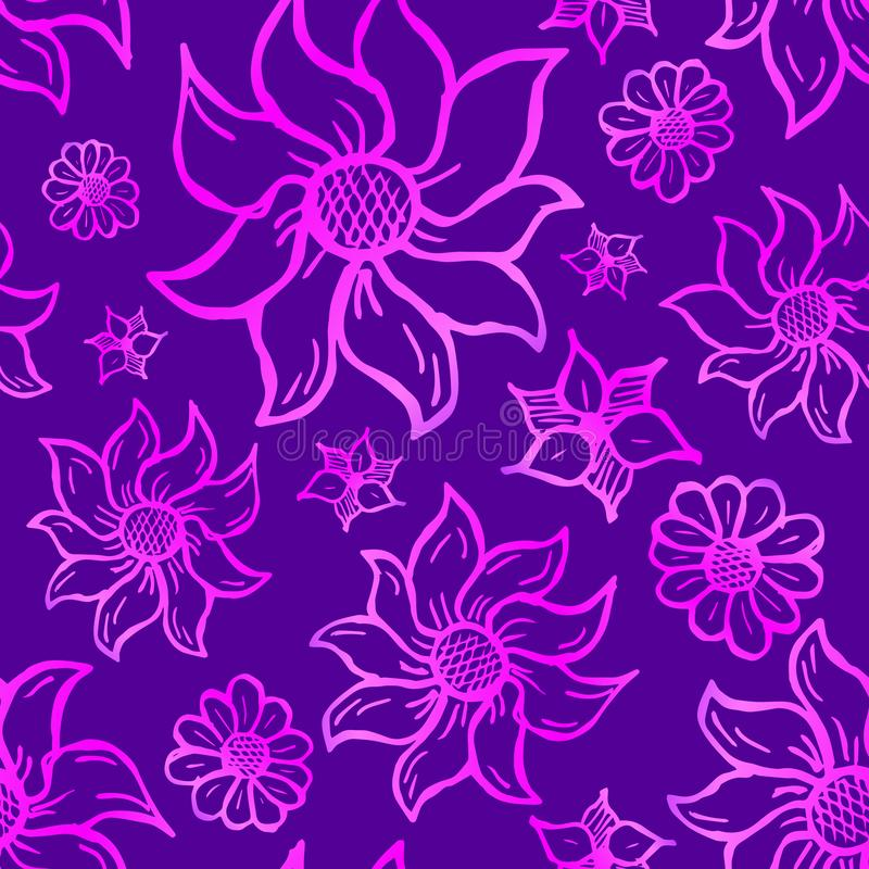 Floral seamless pattern with hand drawn roses. Pink flowers on violet background stock illustration