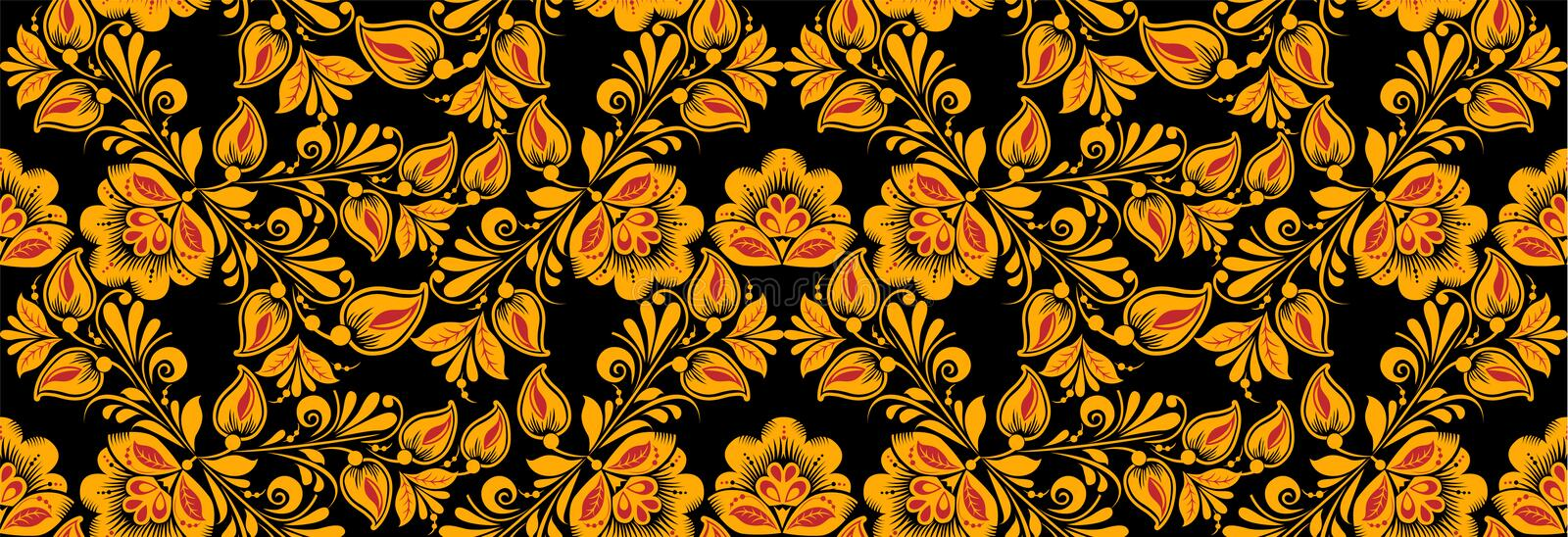 Floral seamless pattern, hohloma drawing style. Floral seamless pattern vector, hohloma drawing style in classic black, red and gold colors. Khokhloma, Russian royalty free illustration