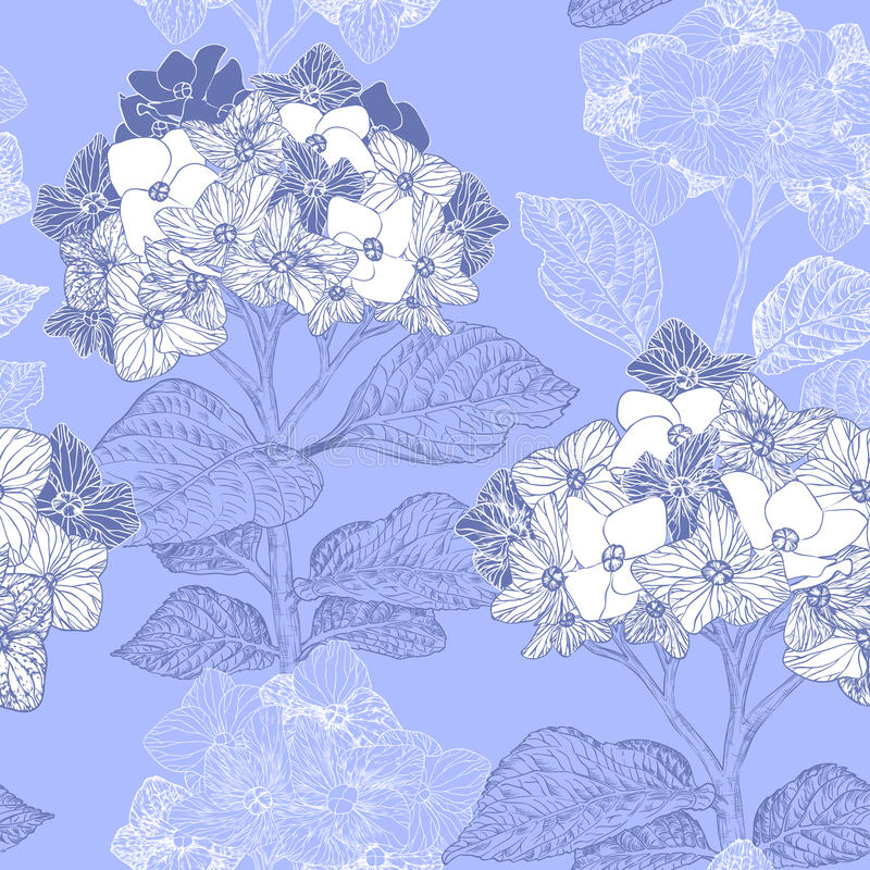 Floral seamless pattern with hydrangea flowers stock illustration