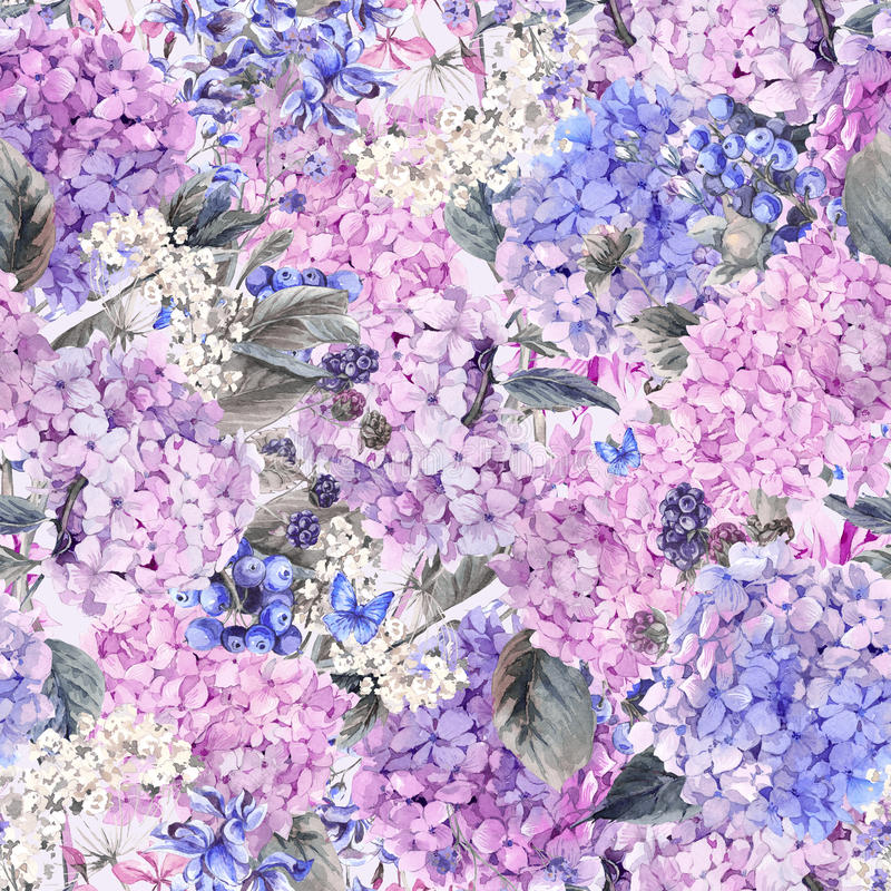 Floral seamless pattern with Hydrangea vector illustration