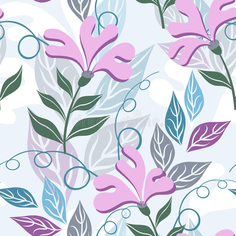 Floral seamless pattern. Imagination flowers. royalty free illustration