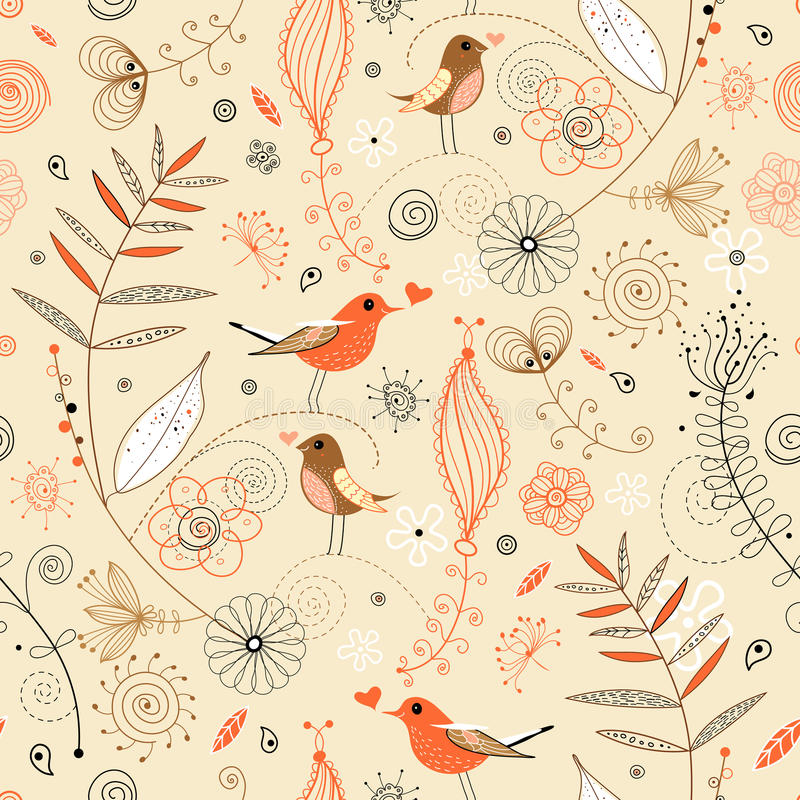 Free Floral Seamless Pattern In Retro Style Royalty Free Stock Image - 18301116