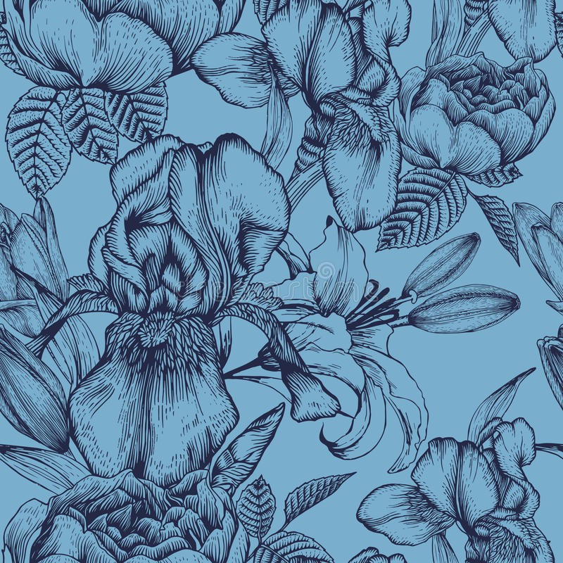 Floral seamless pattern with iris, lilies and roses on the blue background vector illustration