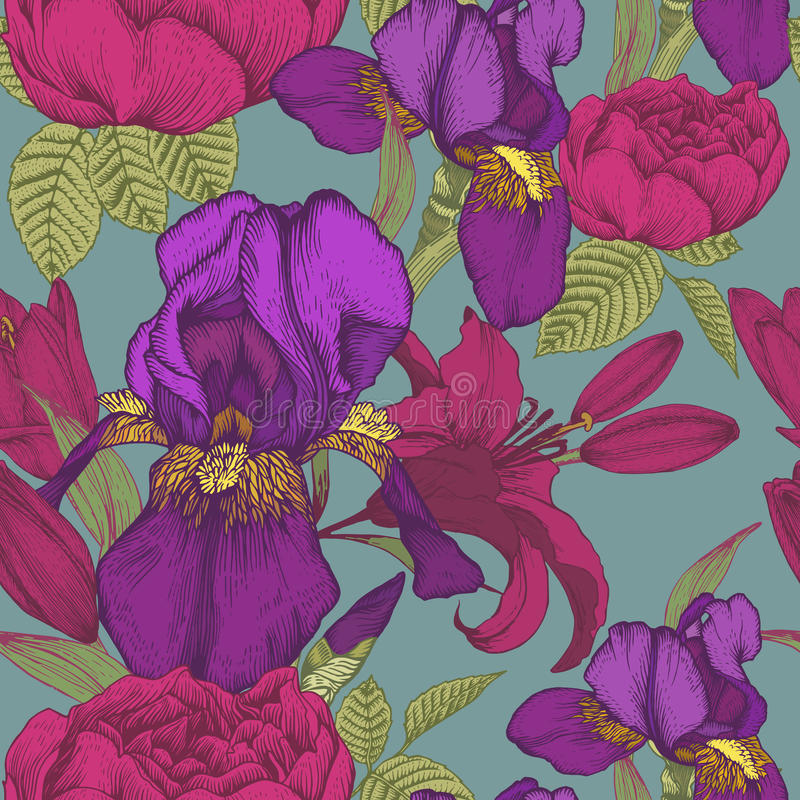 Floral seamless pattern with irises, lilies and roses vector illustration