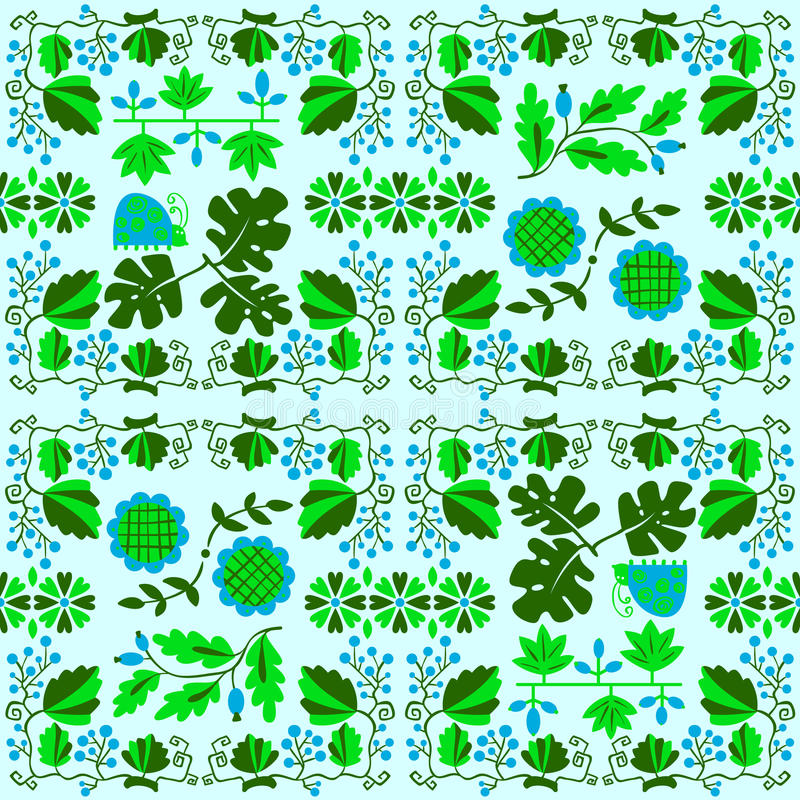 Floral seamless pattern with ladybird and vine. Geometrical back royalty free illustration
