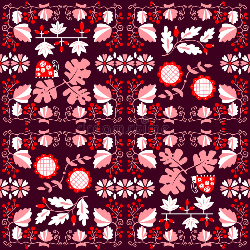 Floral seamless pattern with ladybird and vine. Geometrical back. Ground with flat cartoon plants and berries and flowers. Design elemenr for wrapping and vector illustration