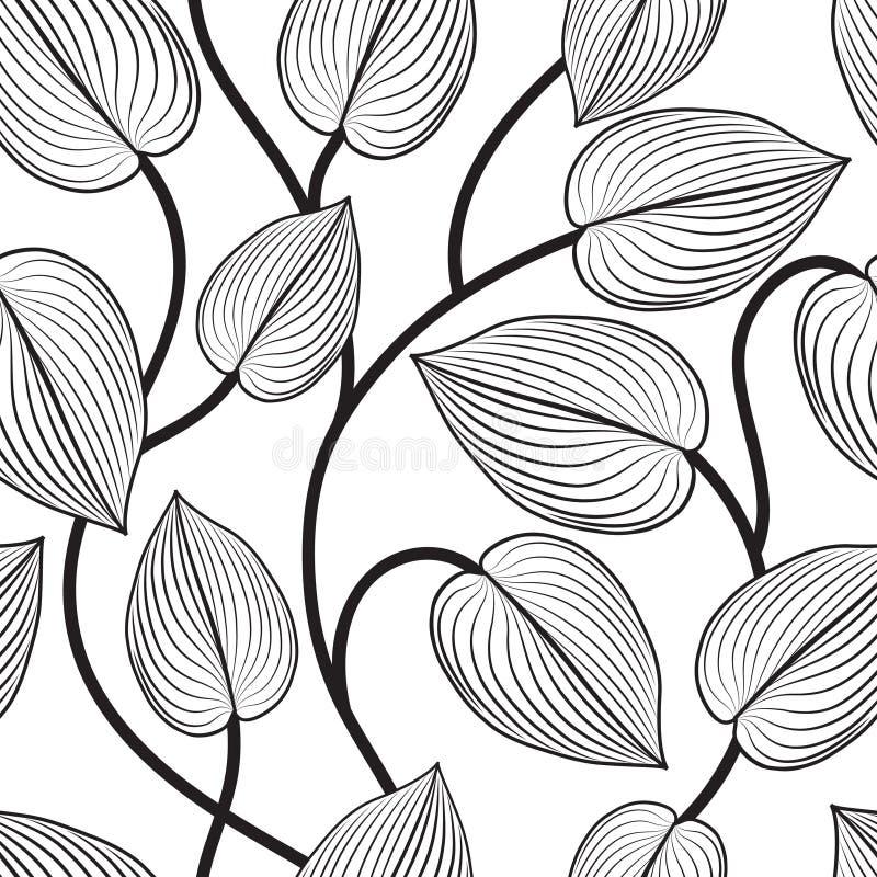Floral seamless pattern. Leaves background. Flourish garden leaf. Line art backdrop royalty free illustration