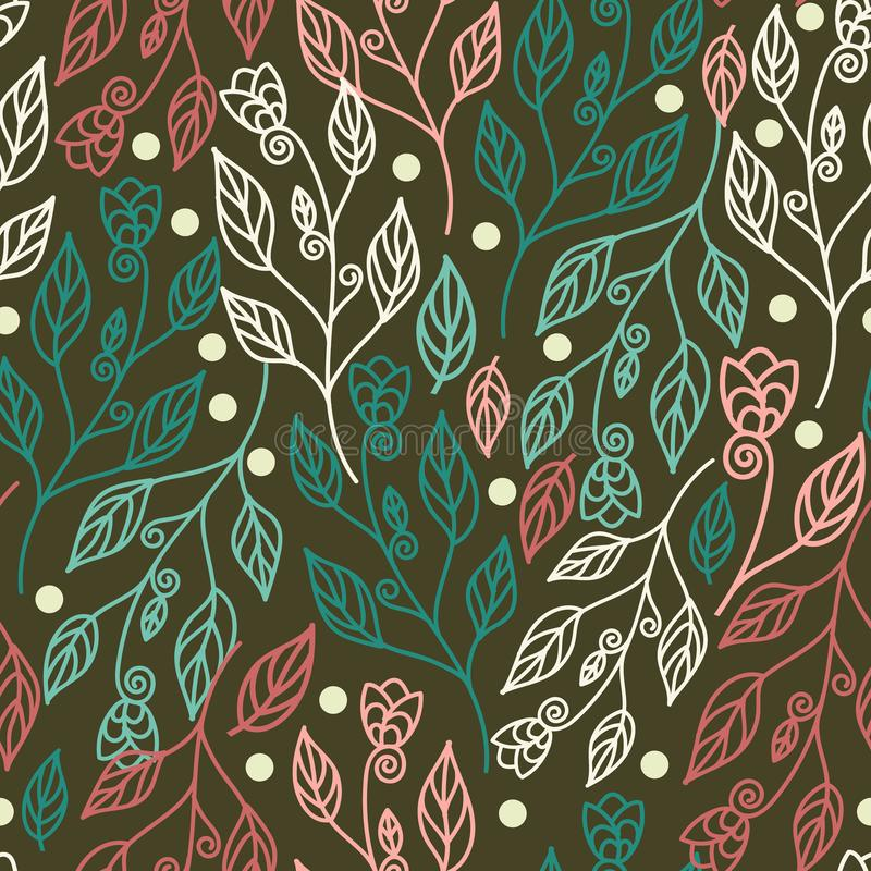 Floral seamless pattern with leaves and beautiful flowers. Vector illustration in green background. For wallpaper, texture, fabric, textile, and surface design stock illustration