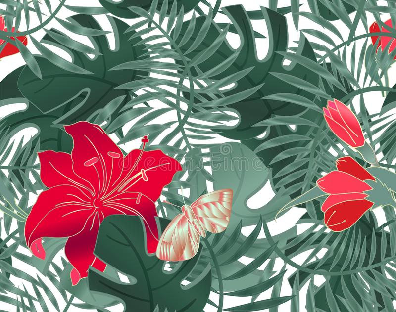 Floral Seamless pattern of leaves monstera, hibiscus flowers, palm leaves and butterfly. Tropical plants, leaves of palm tree. stock illustration