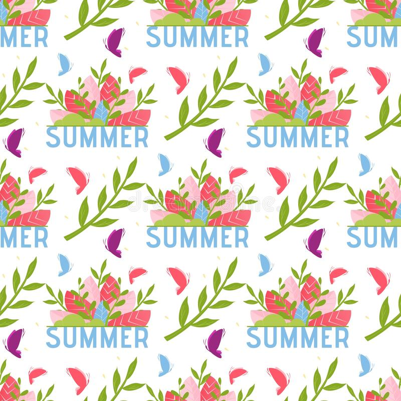 Floral Seamless Pattern with Lettering Summer royalty free illustration