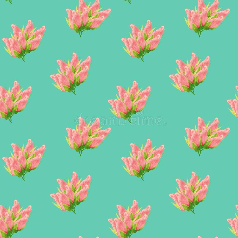 Floral seamless pattern made of roses. Acrilic painting with pink flower buds on turquoise background. Botanical illustration for royalty free stock photo