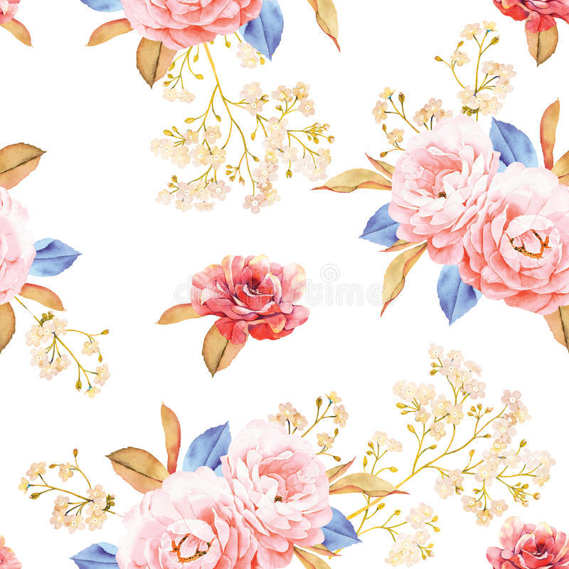 Floral seamless pattern made of roses, blue leaves stock illustration