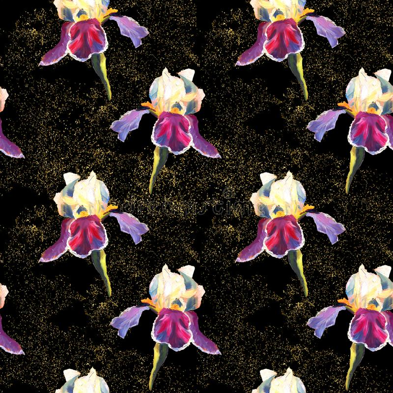 Floral seamless pattern with oil painted irises on black background with golden sparkles stock illustration