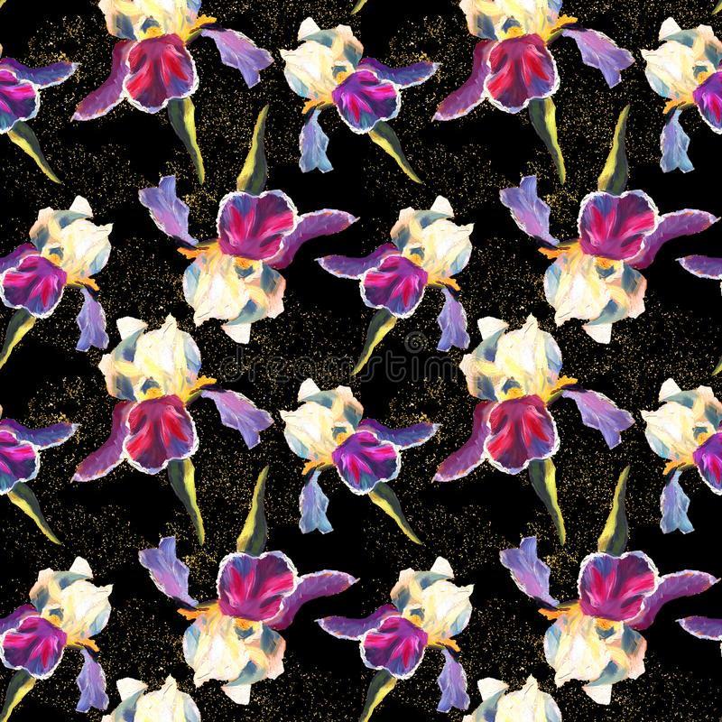 Floral seamless pattern with oil painted irises on black background with golden sparkles vector illustration