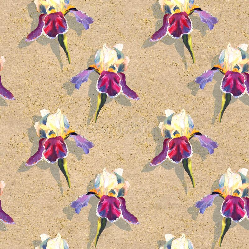 Floral seamless pattern with oil painted irises on craft paper textured background with golden sparkles stock illustration