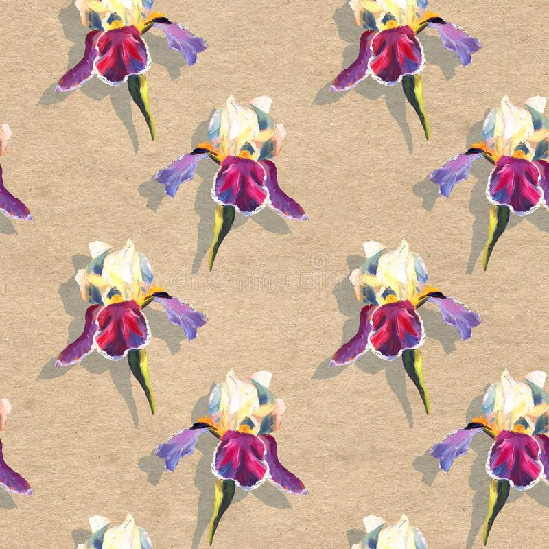 Floral seamless pattern with oil painted irises on craft paper textured background. Floral seamless pattern with oil painted irises on paper textyred background vector illustration