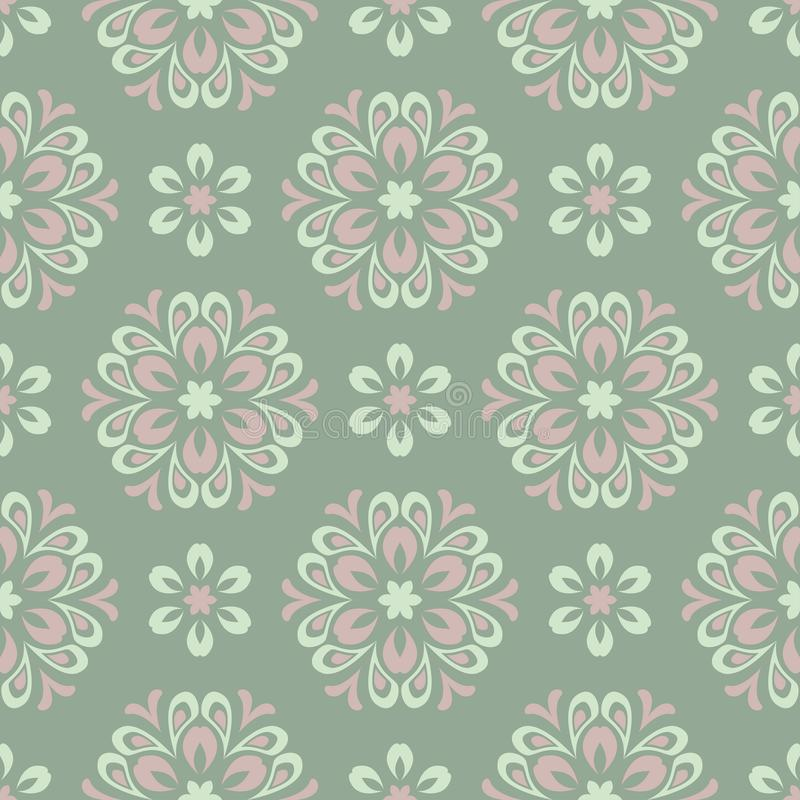 Floral seamless pattern. Olive green background with pale pink flower elements vector illustration