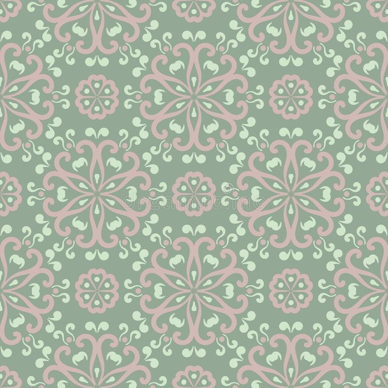 Floral seamless pattern. Olive green background with pale pink flower elements stock illustration
