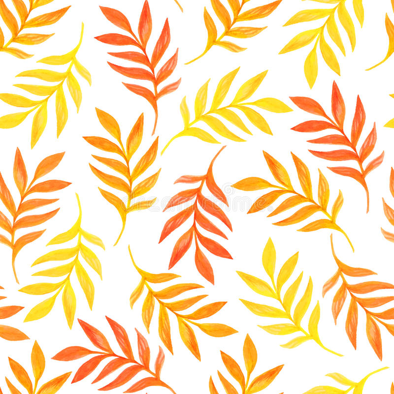 Floral seamless pattern with orange leaves on white background royalty free illustration