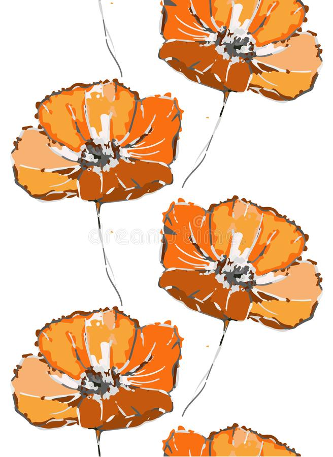 Floral seamless pattern. Orange poppy flowers on the white background stock images