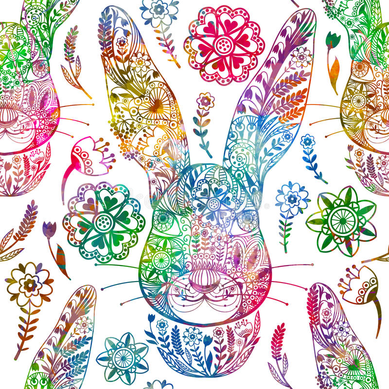 Floral seamless pattern with ornamental rabbit. vector illustration