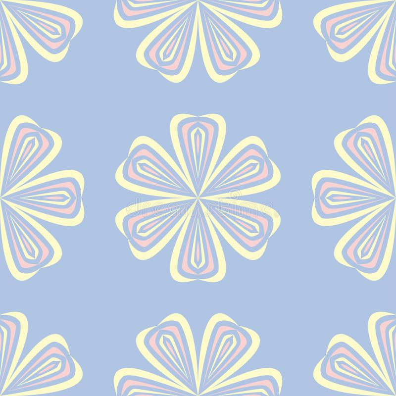 Floral seamless pattern. Pale blue background with beige and pink flower elements vector illustration