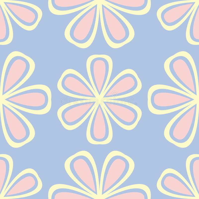 Floral seamless pattern. Pale blue background with beige and pink flower elements royalty free illustration