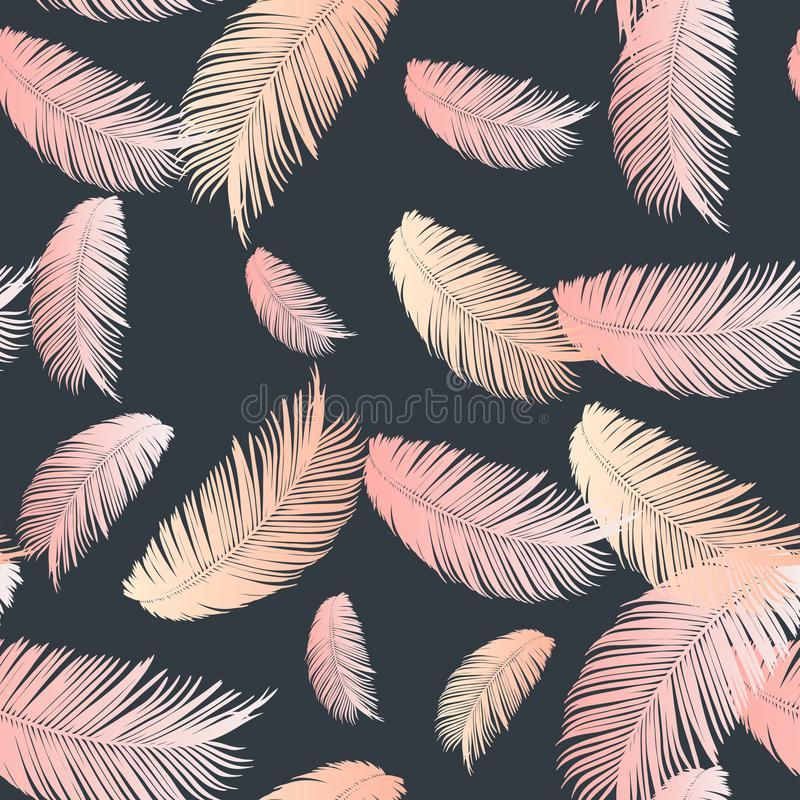 Floral seamless pattern. Palm branch ink sketch. Fashion floral print for a business card, banner, poster, wrapping, fabric,. Notebook, invitation. Vector vector illustration