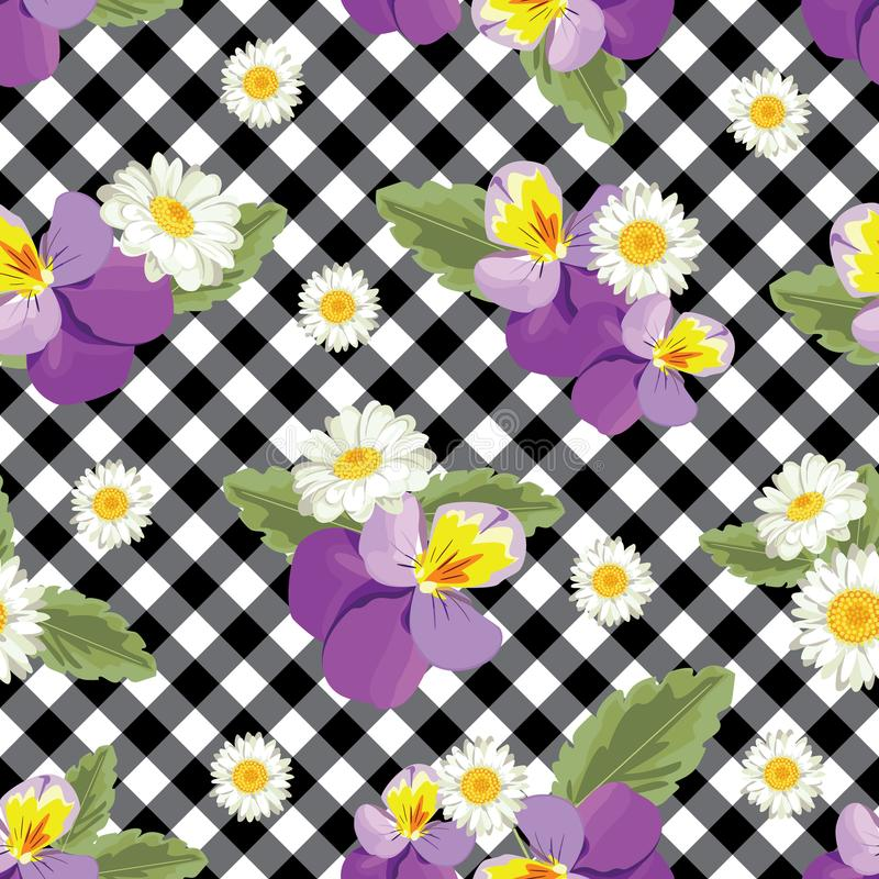 Floral seamless pattern. Pansies with chamomiles on black and white gingham, chequered background. Vector illustration royalty free illustration