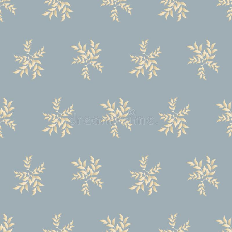 Floral seamless pattern in pastel colors. Leaves, twigs golden yellow beige, blue silk background, tablecloth, napkin, postcard, stock illustration