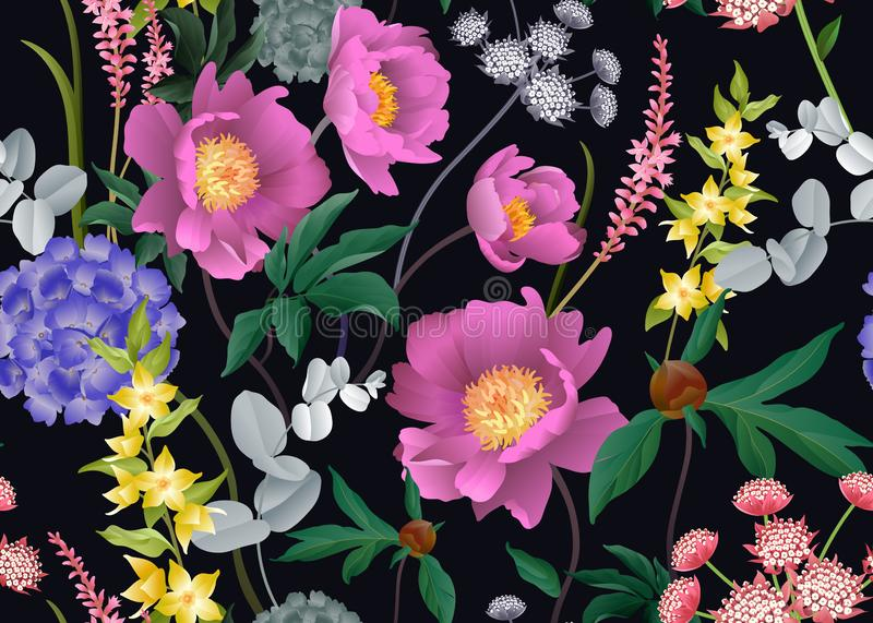Floral seamless pattern. Peonies, hydrangeas, eucalyptus branches, foliage and herbs on black background. Garden flowers. Floral seamless pattern. Peonies stock illustration